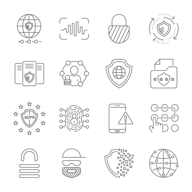 GDPR Data Privacy vector icon set. Included the icons as security information, data protection, shield, certificate, compliant, personal data, database and more. Editable Stroke. EPS 10 vector art illustration