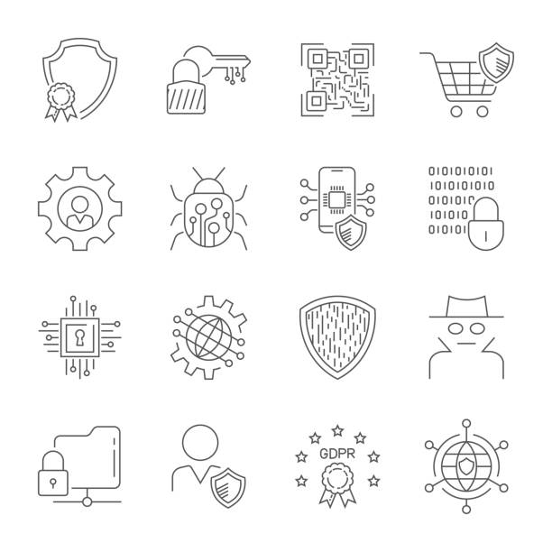 GDPR Data Privacy vector icons set. Included the icons as security information, data protection, shield, certificate, compliant, personal data, database and more. Editable Stroke. EPS 10 vector art illustration