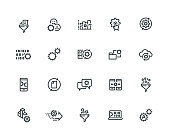 Data Processing Icon Set - Thick Line Series