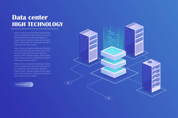 data processing isometric concept - computer server room stock illustrations