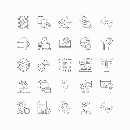 Data Processing Line Icon Set