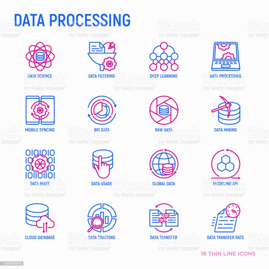 Data Processing Thin Line Icons Set Data Science Filtering Deep