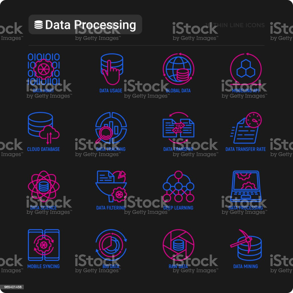 Data processing thin line icons set: data science, filtering, deep learning, mobile syncing, big data, modeling API, usage, tracking, cloud database. Modern vector illustration for black theme. royalty-free data processing thin line icons set data science filtering deep learning mobile syncing big data modeling api usage tracking cloud database modern vector illustration for black theme stock vector art & more images of analyzing