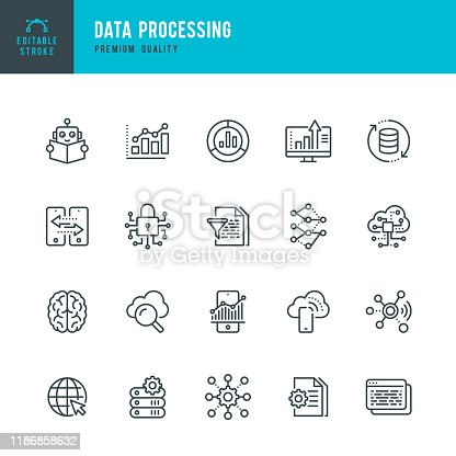 Data Processing - thin line vector icon set. Editable stroke. Pixel Perfect. 20 linear icon. Set contains such icons as Data, Infographic, Big Data, Cloud Computing, Machine Learning, Security System, Charts, Internet of Things, Brainstorming.