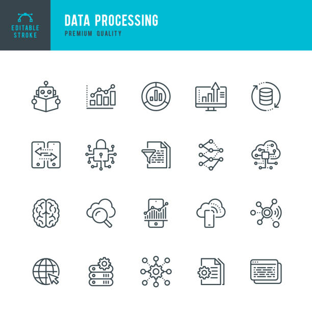 datenverarbeitung - dünnlinien-vektorsymbol gesetzt. bearbeitbarer strich. pixel perfekt. set enthält symbole wie daten, infografik, big data, cloud computing, machine learning, security system. - data stock-grafiken, -clipart, -cartoons und -symbole