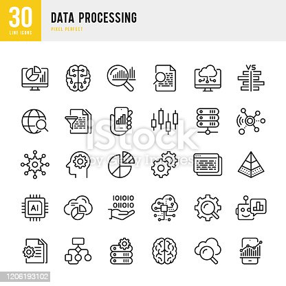 istock Data Processing - thin line vector icon set. Pixel Perfect. Set contains such icons as Data, Infographic, Big Data, Cloud Computing, Artificial Intelligence, Brain, Machine Learning, Security System. 1206193102