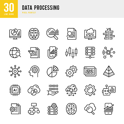 Data Processing - thin line vector icon set. Pixel Perfect. Set contains such icons as Data, Infographic, Big Data, Cloud Computing, Artificial Intelligence, Brain, Machine Learning, Security System.