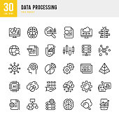 Data Processing - thin line vector icon set. Pixel Perfect. 30 linear icon. Set contains such icons as Data, Infographic, Big Data, Cloud Computing, Machine Learning, Security System, Charts, Internet of Things, Brainstorming, Brain, Robot, Artificial Intelligence.