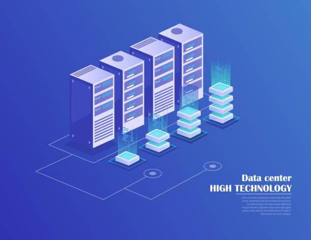 data processing - computer server room stock illustrations