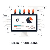 Abstract flat vector illustration of data processing concept isolated on white background. Design elements for web.