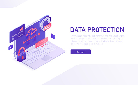 Data protection 3d isometric template of e-commerce site, home page vector design. Data safety isometric icons, shield, password, lock, credit card, fingerprint, laptop isometric icons