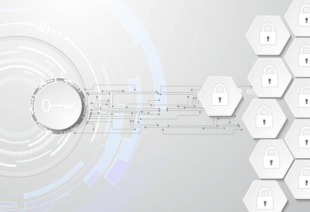 Daten Schutz abstrakten Hintergrund mit Schlüssel und Schlösser – Vektorgrafik