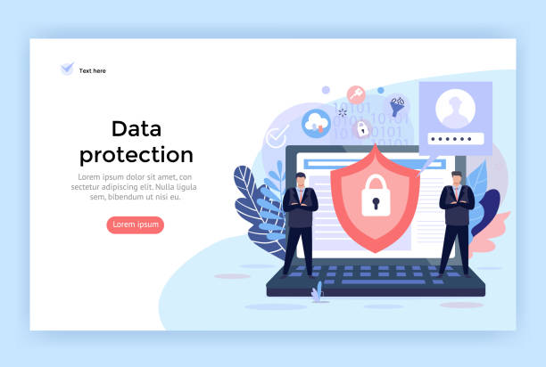 Data protection and cyber security . Data protection and cyber security concept illustration, perfect for web design, banner, mobile app, landing page, vector flat design. security staff stock illustrations