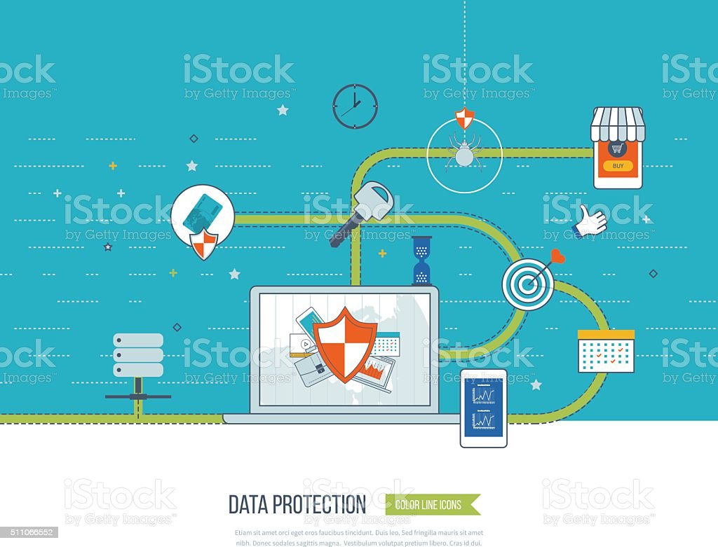 Data protection and safe work. Data safety. Internet security....