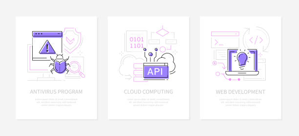 Data protection and technology - line design style banners set vector art illustration