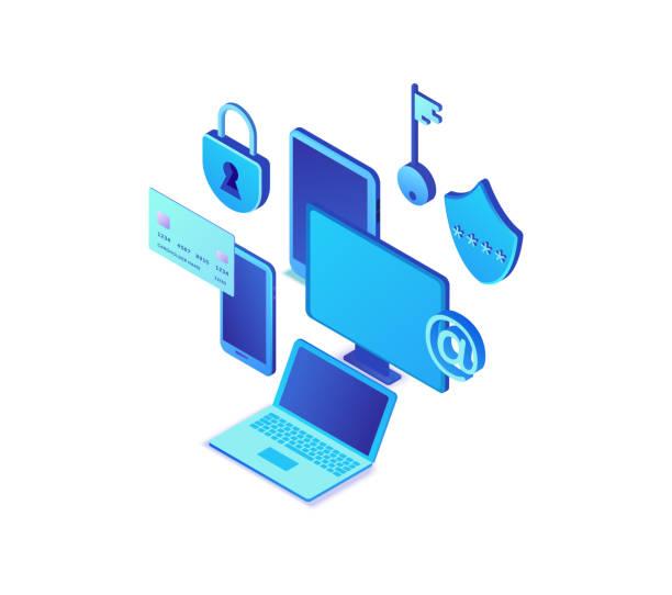 Datenschutzkonzept, Cyber-Sicherheit 3d isometrische Vektorabbildung, Firewall-Angriff, Phishing-Betrug, Informationssicherheit, Laptop, Computer, Bankkarte – Vektorgrafik