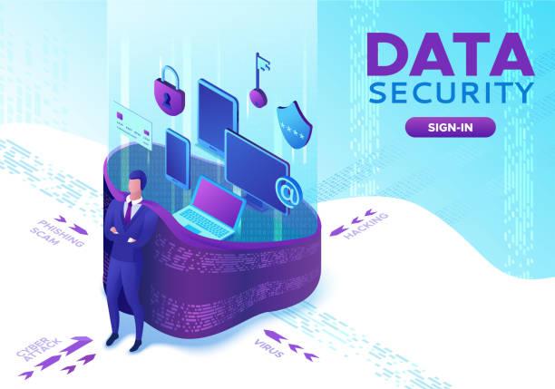 Datenschutzkonzept, Cyber-Sicherheit 3d isometrische Vektorabbildung, Firewall-Angriff, Phishing-Betrug, Superhelden, Informationssicherheit, Laptop, Computer, Bankkarte – Vektorgrafik