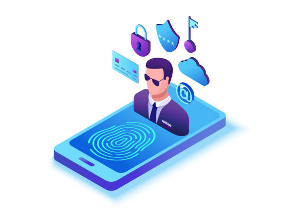 Datenschutzkonzept, Cyber-Sicherheit 3d isometrische Vektorabbildung, Firewall-Angriff, Phishing-Betrug, Informationsschutzkonzept, Computersicherheit und-sicherheit – Vektorgrafik