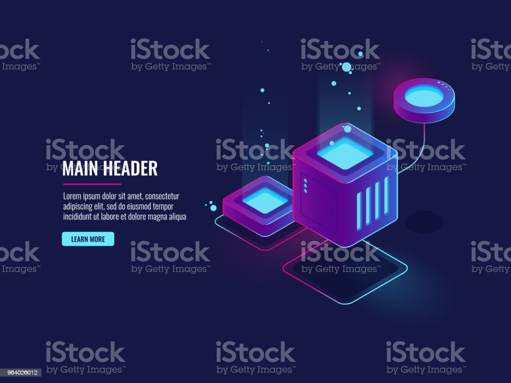 Data protection concept, firewall icon, server room cloud storage, information encryption, database conection - Royalty-free Abstract stock vector