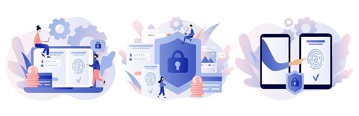 Data protection concept. Scan Fingerprint, Identification system. Modern flat cartoon style. Vector illustration