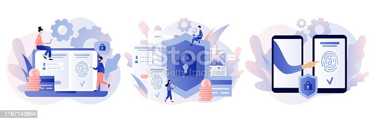 Data protection concept. Scan Fingerprint, Identification system. Modern flat cartoon style. Vector