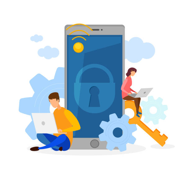 Data Protection, Cyber Security Flat Illustration Data Protection, Cyber Security Flat Illustration. Programmers Working with Laptops Cartoon Characters. Privacy Software Development. Personal Information Limited Access, Locked Smartphone cybersecurity stock illustrations