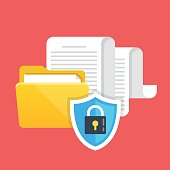 Data protection, file security and access rights concepts. Folder, documents and shield with lock icon. Modern flat design graphic elements. Vector illustration isolated on red background