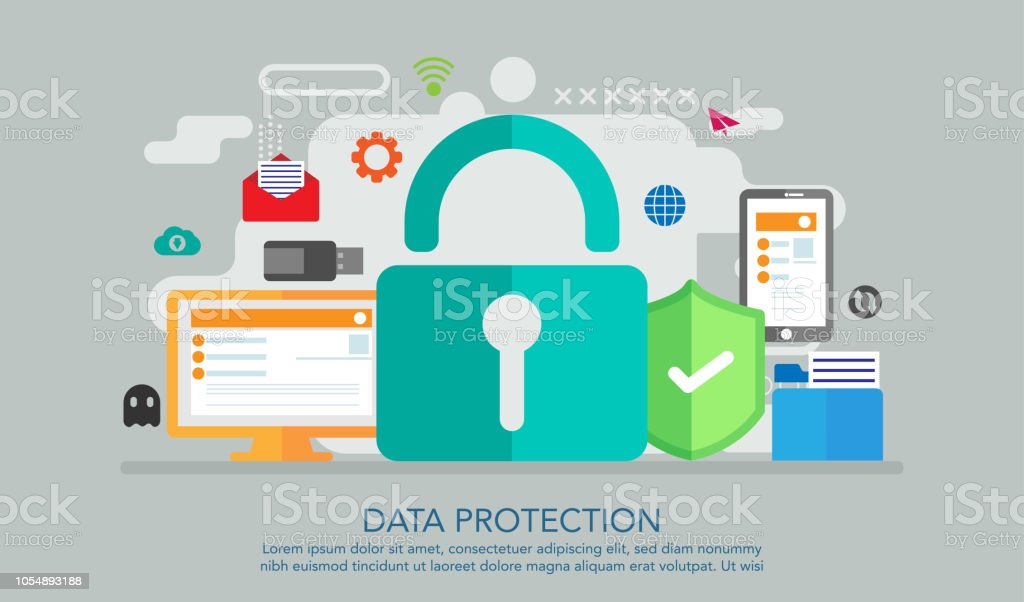 Data Protection Flat Design Concept, Safe Work Concept, Suitable For...