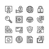 Data protection icons set. Computer security, cybersecurity, information security concepts. Pixel perfect. Linear, outline symbols. Thin line design. Vector line icons set