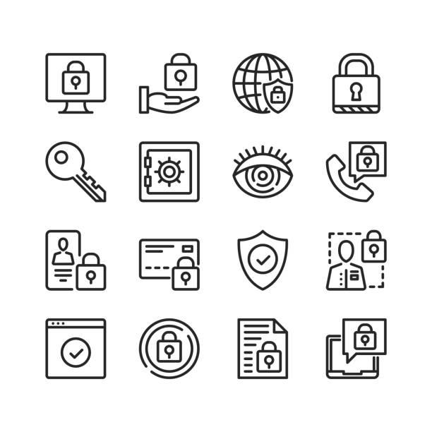 ilustrações, clipart, desenhos animados e ícones de ícones da proteção de dados ajustados. segurança informática, cibersegurança, conceitos de segurança da informação. pixel perfeito. linear, símbolos de contorno. design de linha fina. ícones da linha do vetor ajustados - chave