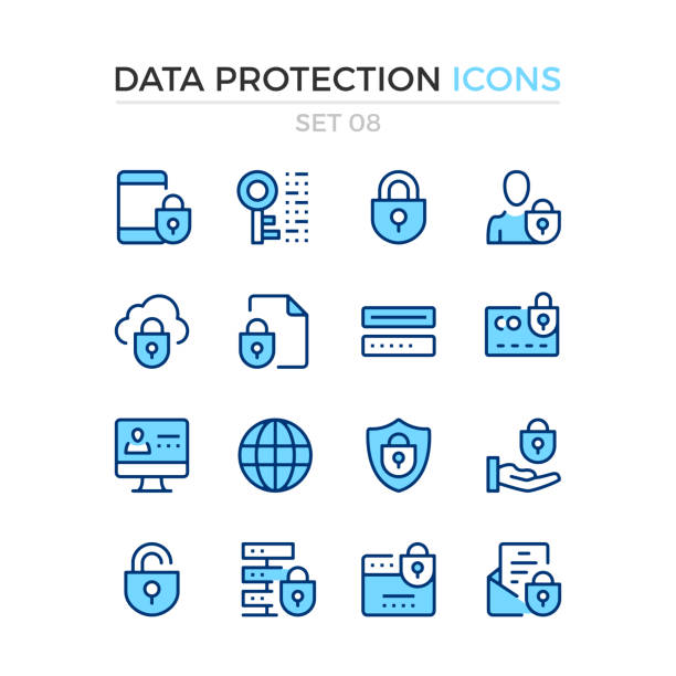 Data protection icons. Vector line icons set. Premium quality. Simple thin line design. Stroke, linear style. Modern outline symbols, pictograms vector art illustration