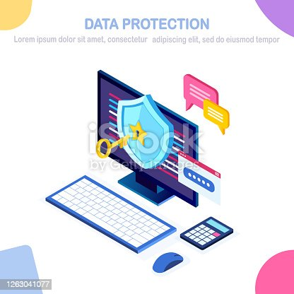Data protection. Internet security, privacy access with password. 3d isometric computer pc with key, lock, shield, message bubble. Vector design for banner
