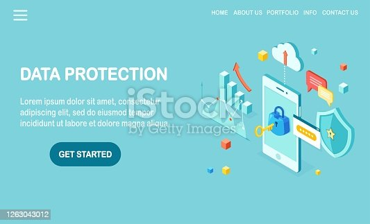 Data protection. Internet security, privacy access with password. 3d isometric mobile phone with key, lock, shield, cloud, speech bubble, smartphone, money, chart, graph. Vector design for banner