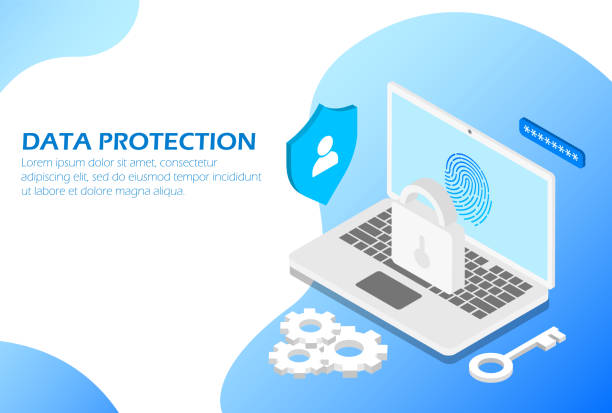 Data protection. Isometric. Suitable for website page, infographics, advertising, applications. Data protection, Suitable for website page, infographics, advertising applications - vector encryption stock illustrations