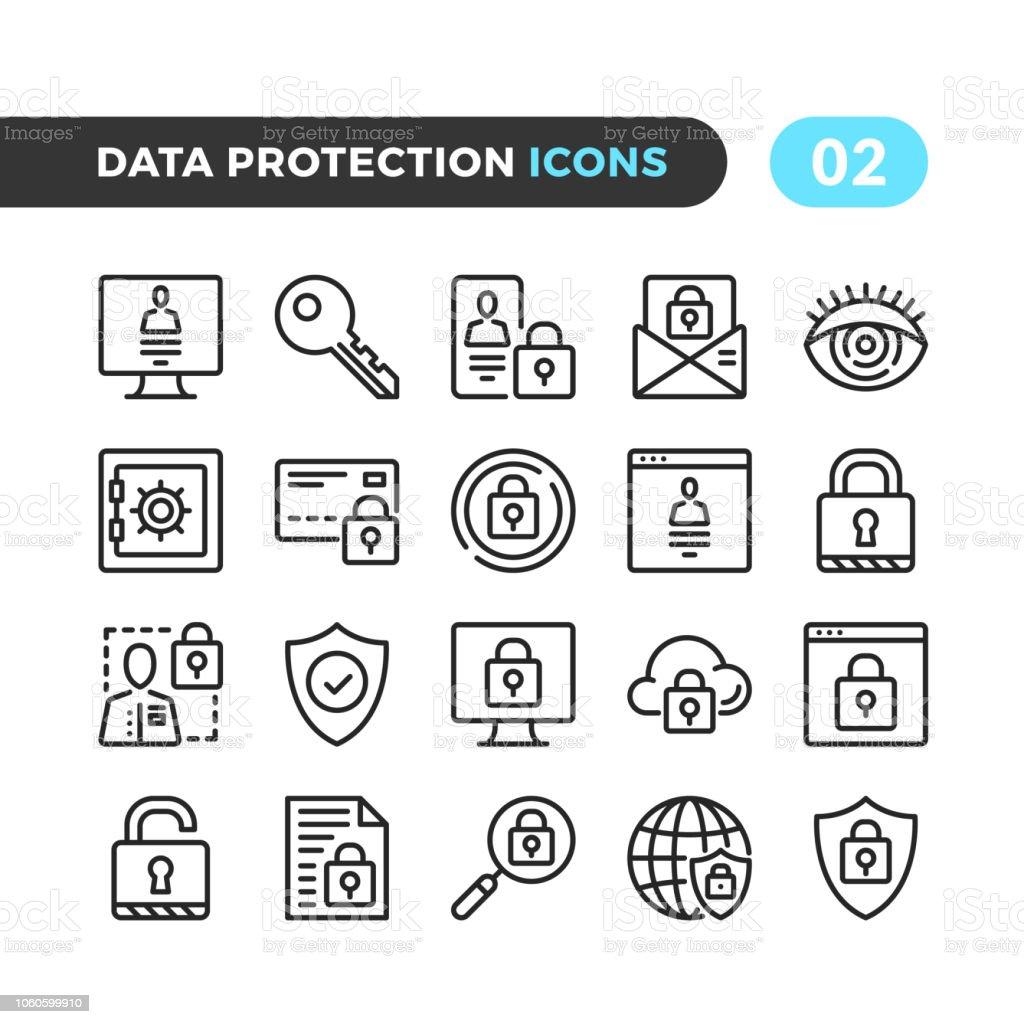 Data protection line icons. Outline symbols collection. Modern stroke, linear elements. Premium quality. Pixel perfect. Vector thin line icons set - Royalty-free Aplicação móvel arte vetorial