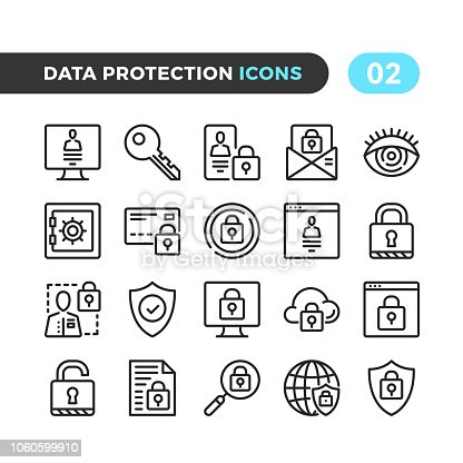 Data protection line icons. Outline symbols collection. Modern stroke, linear elements. Premium quality. Pixel perfect. Vector thin line icons set