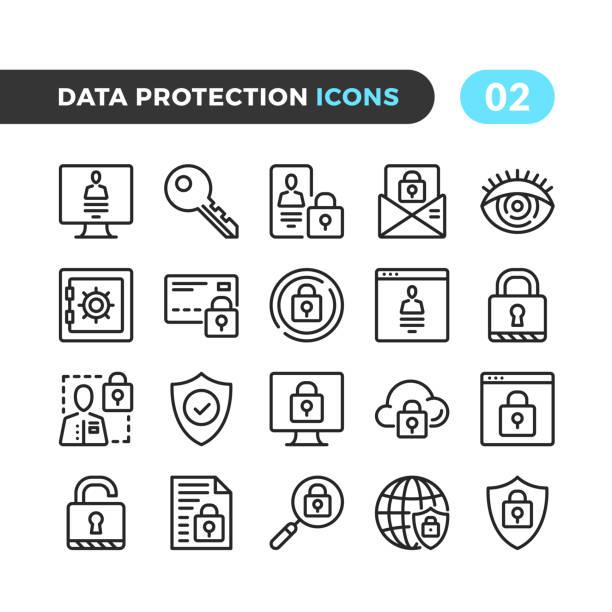 ilustraciones, imágenes clip art, dibujos animados e iconos de stock de iconos de línea de protección de datos. colección de símbolos de esquema. tiempos modernos, elementos lineales. calidad premium. pixel perfecto. conjunto de iconos de delgada línea vector - seguridad