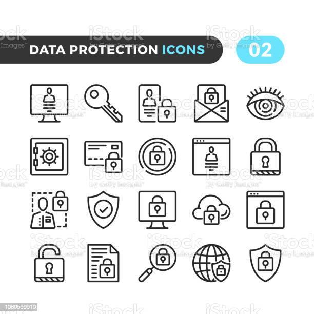 Data Protection Line Icons Outline Symbols Collection Modern Stroke Linear Elements Premium Quality Pixel Perfect Vector Thin Line Icons Set - Arte vetorial de stock e mais imagens de Aplicação móvel
