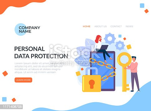 Data protection lock antivirus vector graphic design banner poster