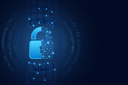 Data protection privacy concept. Padlock icon and internet technology networking connection.