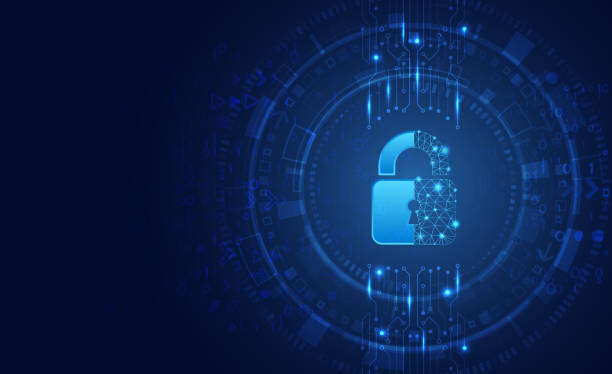 Data protection privacy concept. Padlock icon and internet technology networking connection. Data protection privacy concept. Padlock icon and internet technology networking connection. Cyber security internet and networking concept. Abstract circuit board. encryption stock illustrations