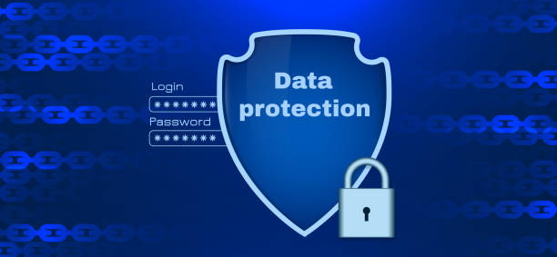 Daten-Schutz-Thema mit Kettenelemente – Vektorgrafik