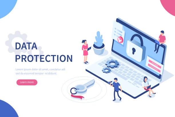 illustrazioni stock, clip art, cartoni animati e icone di tendenza di data protection - security