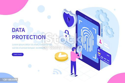 Data protection with biometric technologies concept. Can use for web banner, infographics, hero images. Flat isometric vector illustration isolated on white background.