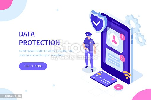 Data protection officer concept. Can use for web banner, infographics, hero images. Flat isometric vector illustration.
