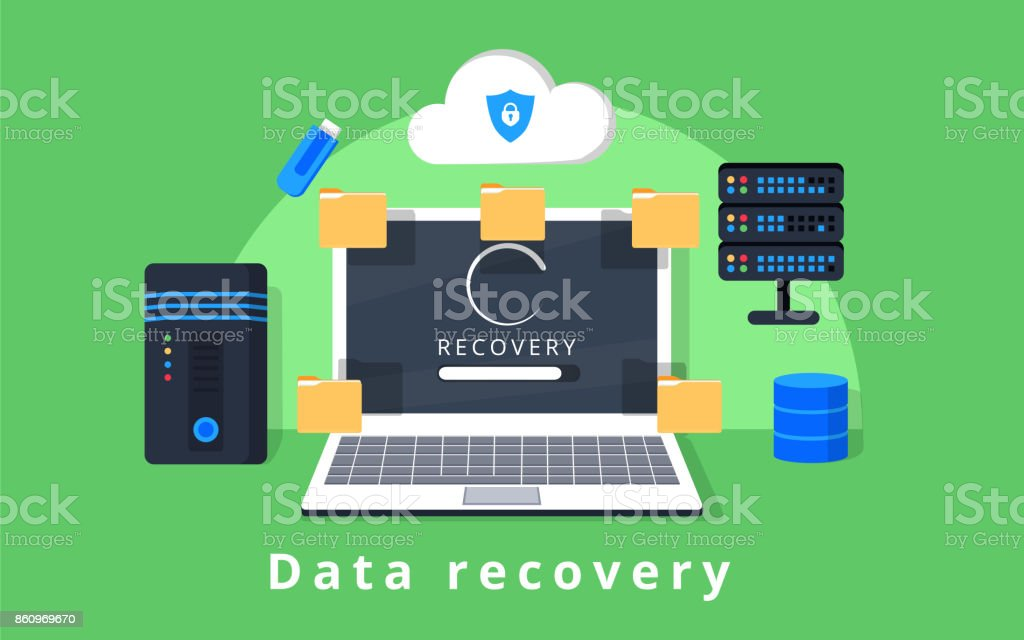 Data recovery, data backup, restoration and security flat design vector with icons vector art illustration