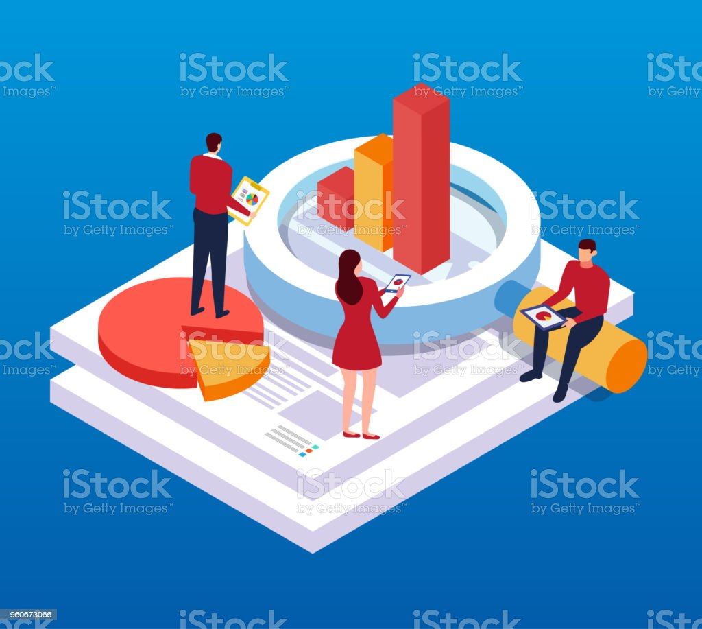 Data Reports and Analysis vector art illustration