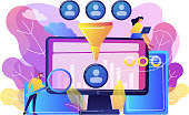 Data scientist and specialist extract knowledge and insights from data. Data science analytics, machine learning control, big data analytics concept. Bright vibrant violet vector isolated illustration