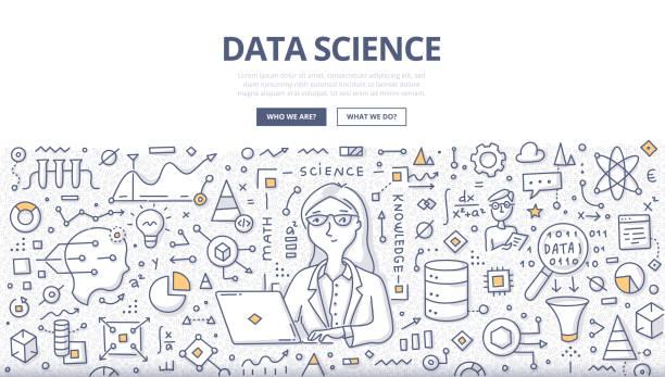 data science doodle concept - formula 1 stock illustrations
