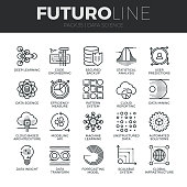Modern thin line icons set of data science technology and machine learning process. Premium quality outline symbol collection. Simple mono linear pictogram pack. Stroke vector symbol concept for web graphics.